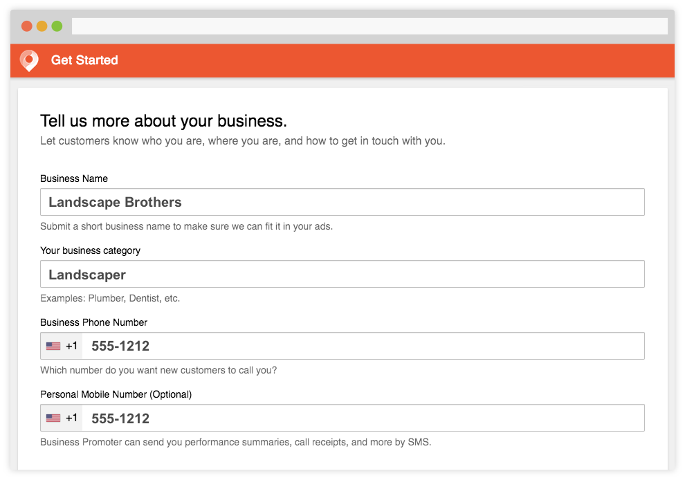 Screenshot of Tell us more about your business