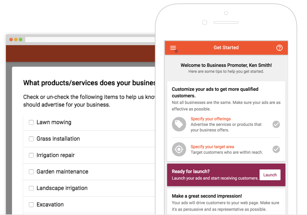 Screenshot of business categories and launch screen