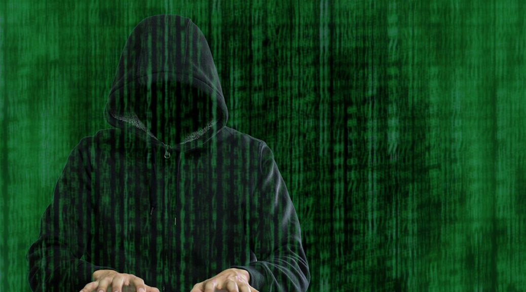 graphic of a hacker in the matrix