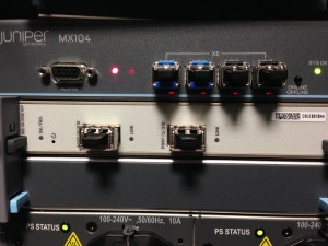 Juniper MX104 before any fiber is connected