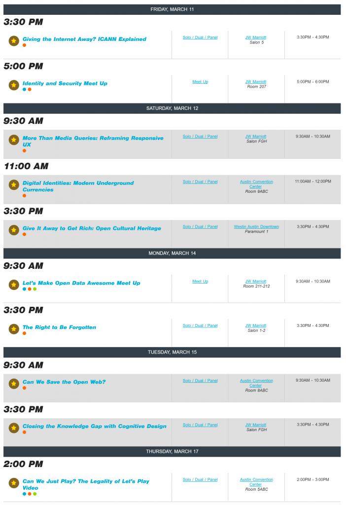 sxsw schedule
