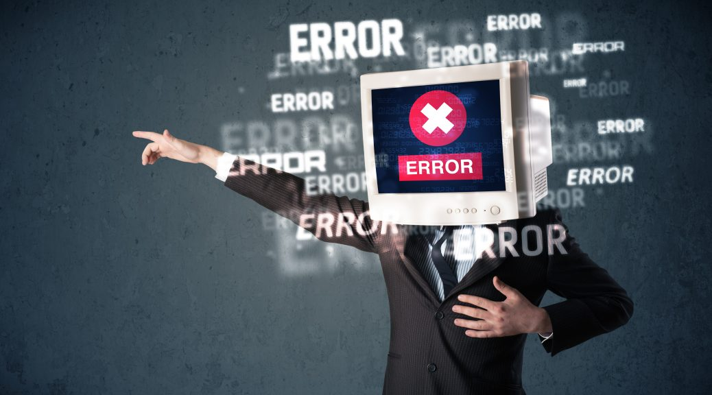 Business man with pc monitor on his head with error messages