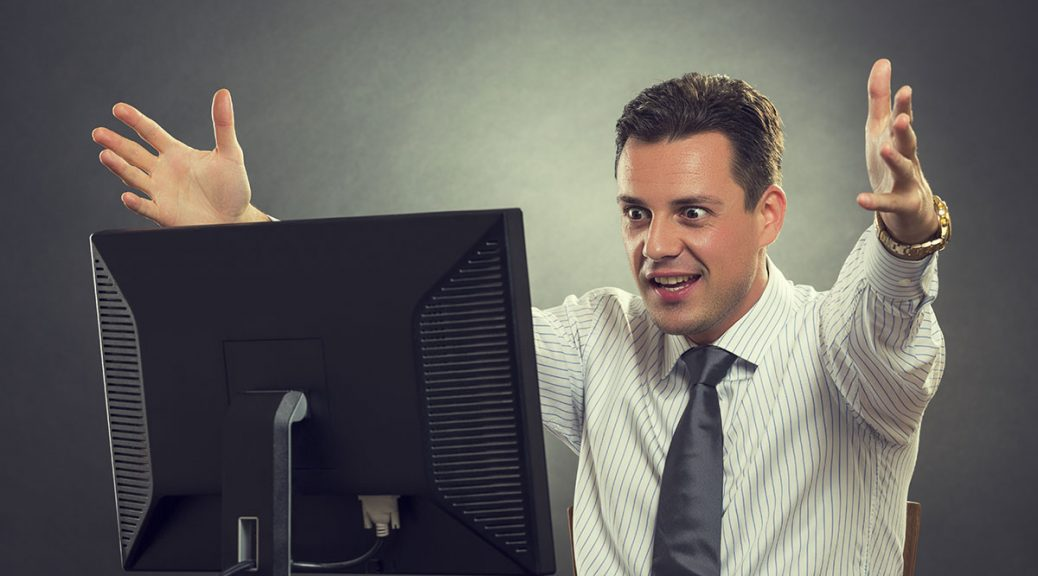 man excited about his search results