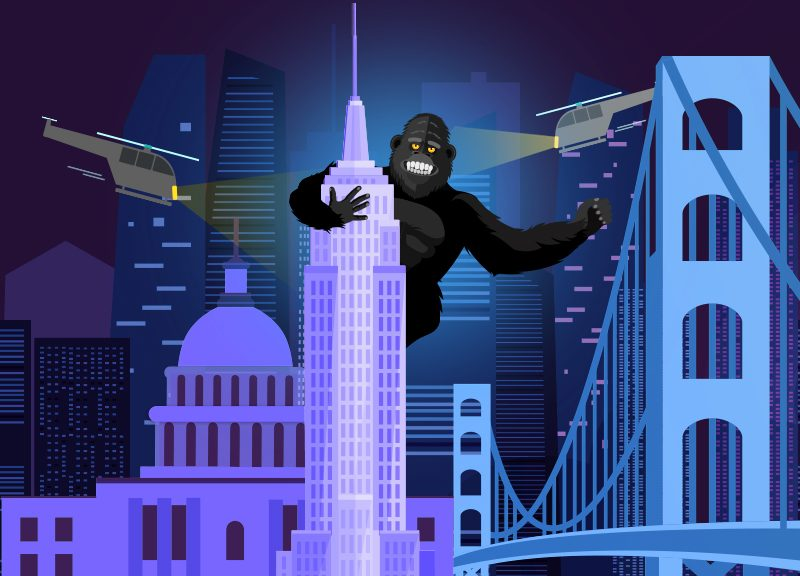 Namecheap's KingCom gorilla on skyscraper