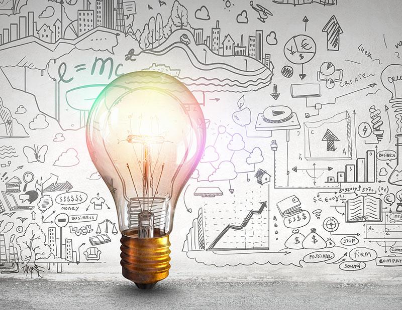 lightbulb illuminating ideas