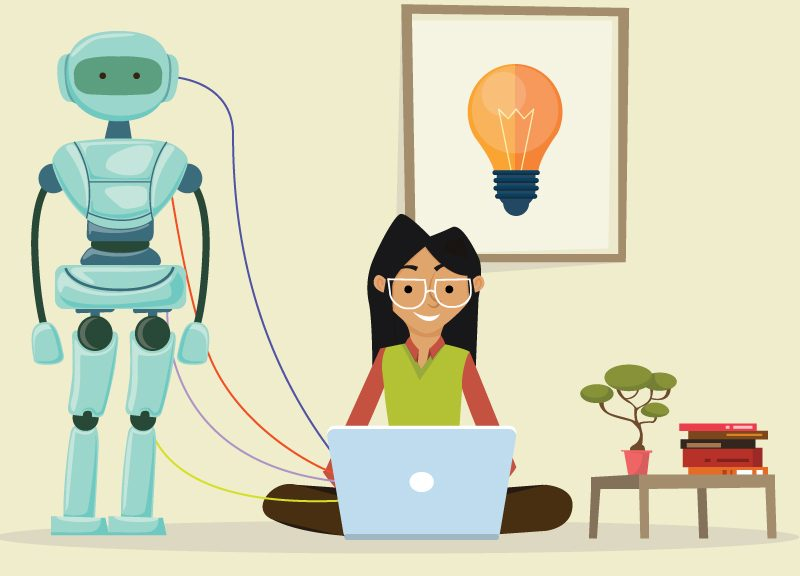 woman with robot attached to laptop