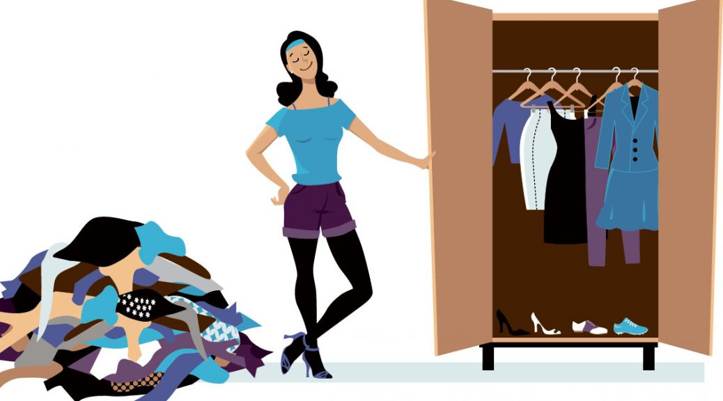 Graphic of woman with cleaned out closet