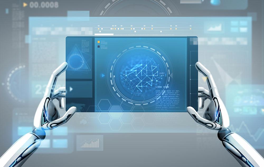 robot hands using computer