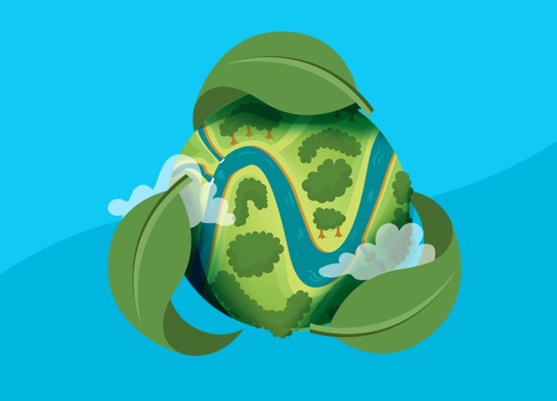 namecheap logo as river across the globe for Earth Day