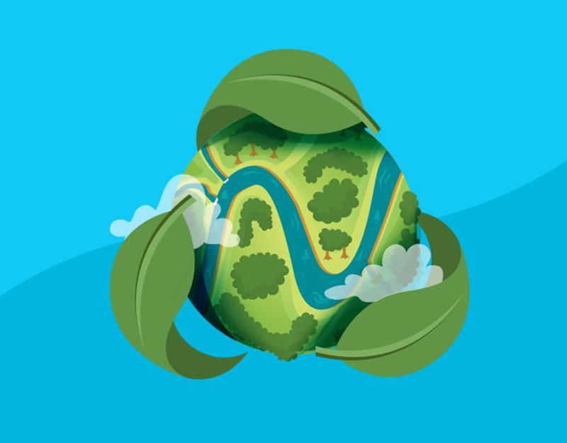 namecheap logo as river across the globe for Earth Day