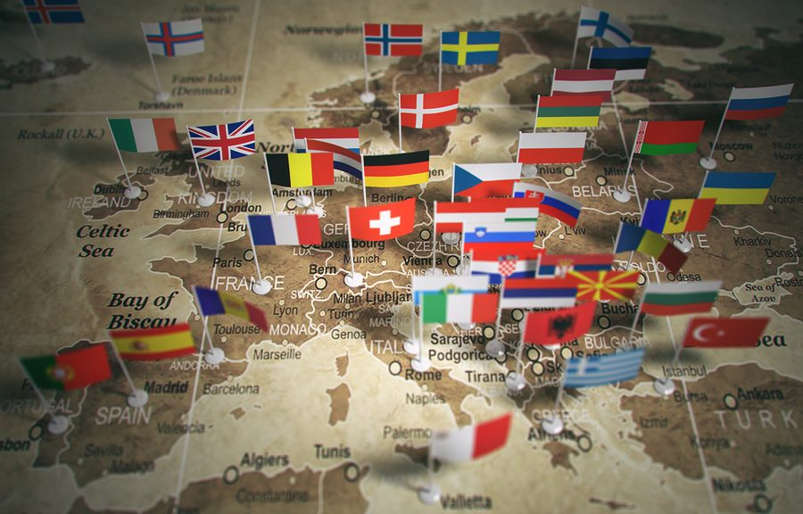 European Union map with flags of countries. Europe. 3d illustrat
