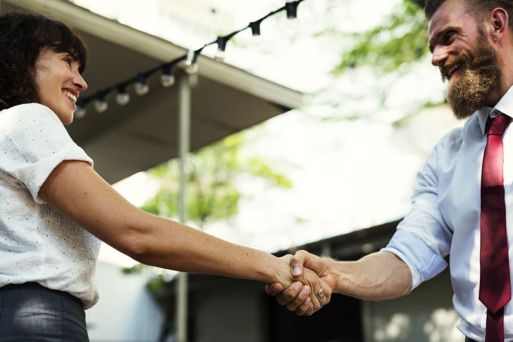 Business people greeting and handshake
