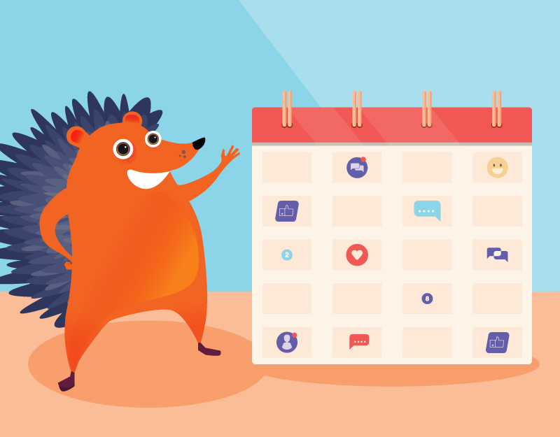 hedgehog and calendar of social media posts