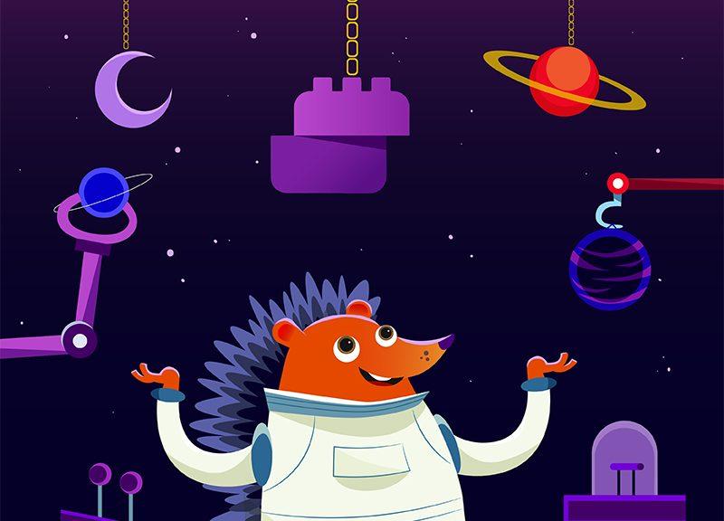hedgehog in space promoting website builder