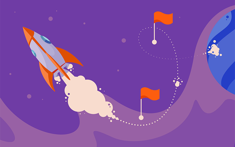 Rocket flying past checkpoints like the steps in a business plan