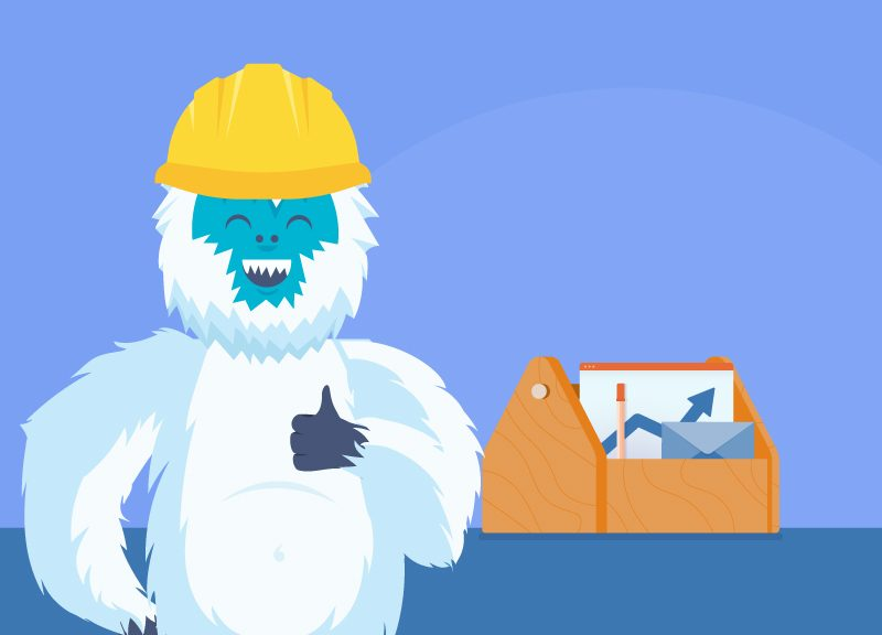 Yeti with his business productivity toolbox
