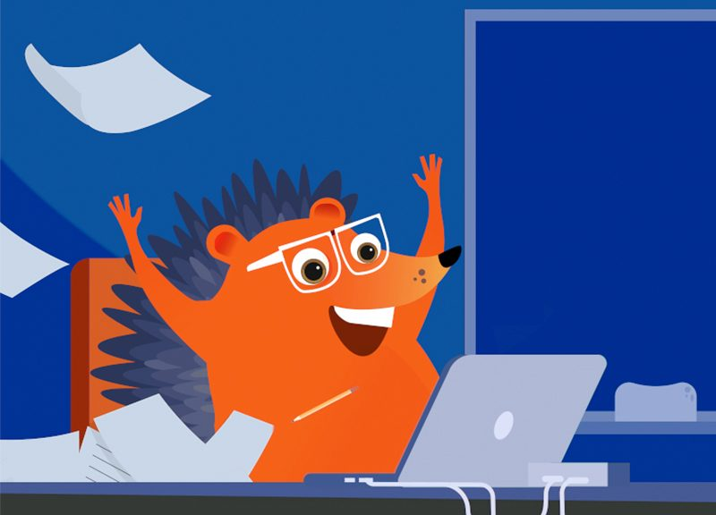 Hedgehog is excited about the deals he sees on his laptop