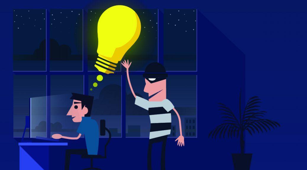 cartoon thief stealing lightbulb idea from writer
