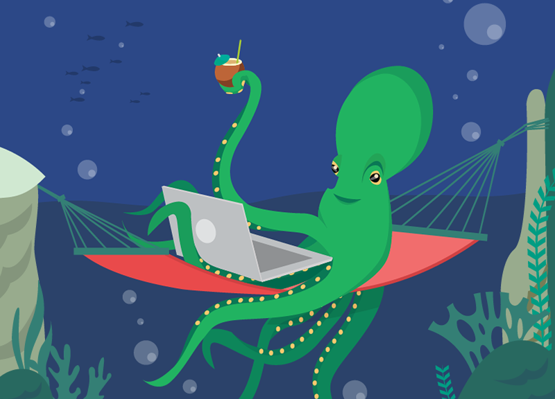 octopus at laptop using managed WordPress hosting