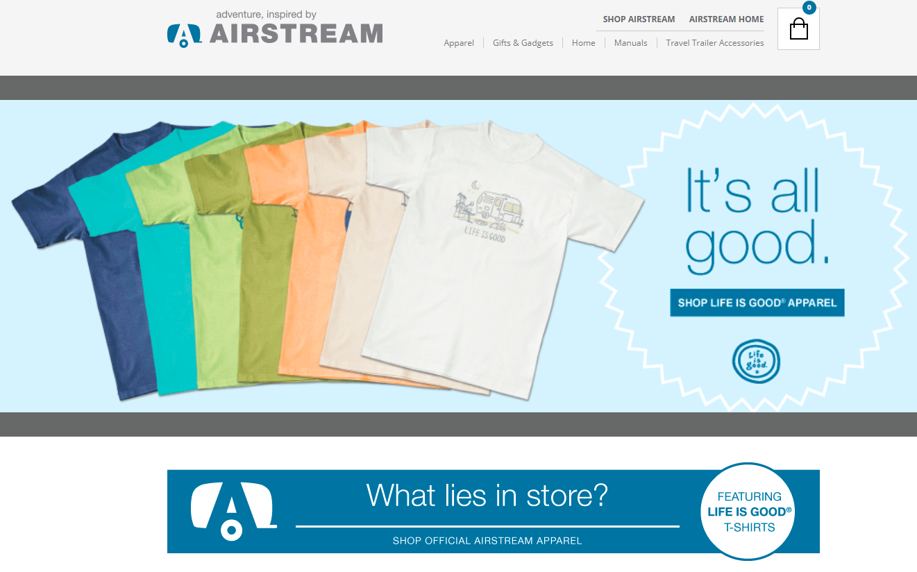 screenshot of tshirts on Airstream website