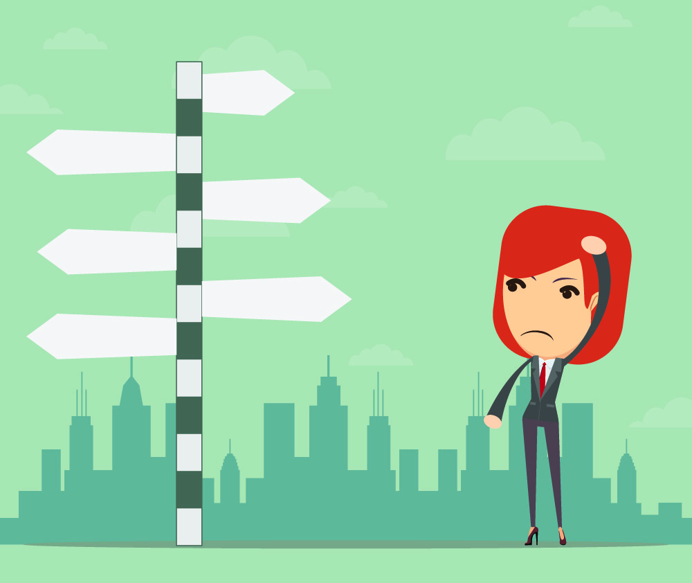 graphic of woman at a signpost trying to make decision