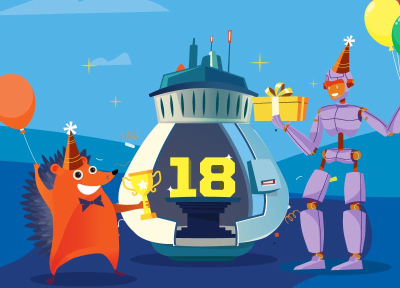 hedgehog and robot celebrate Namecheap's birthday