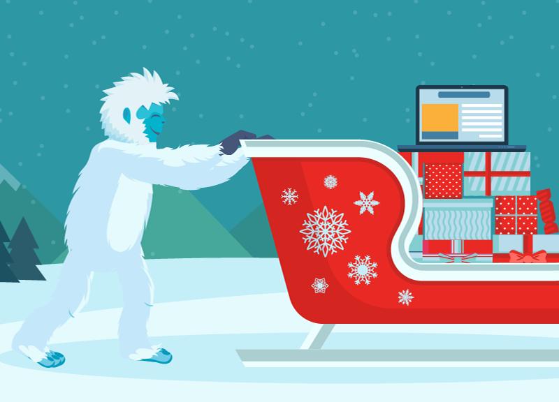 yeti pushing sleigh of presents