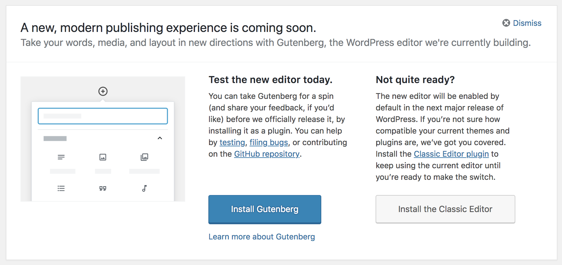 screenshot of Gutenberg option in WordPress