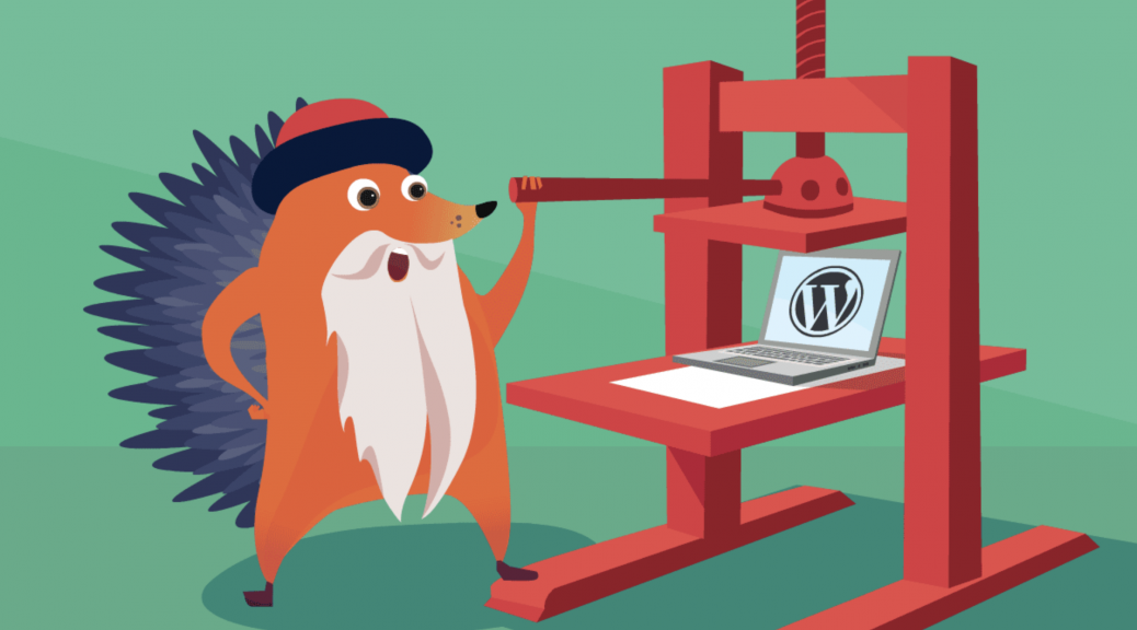 Gutenberg Hedgehog using a printing press with a laptop running WordPress