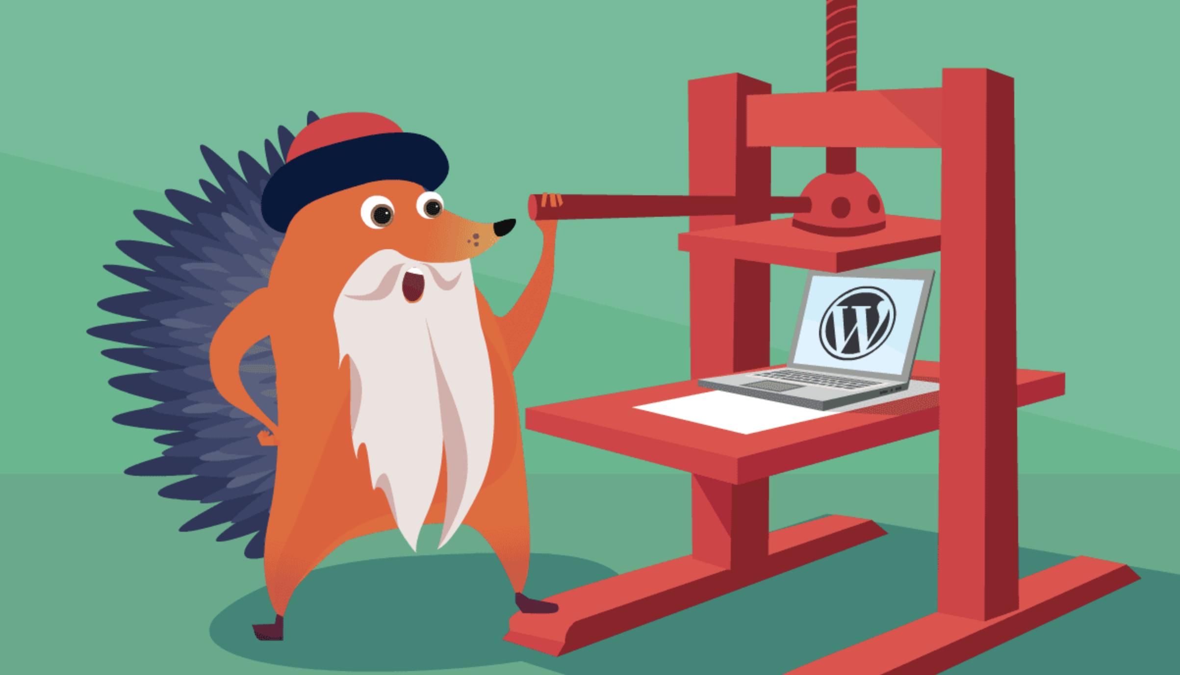 Gutenberg Hedgehog using a printing press with a laptop running WordPress