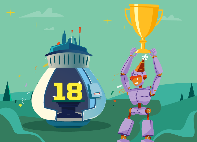 robot holding Namecheap birthday competition trophy