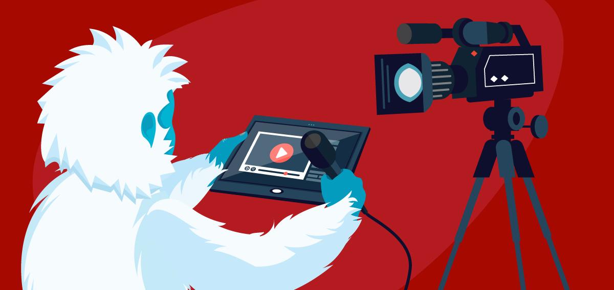 Yeti creating multimedia for his website