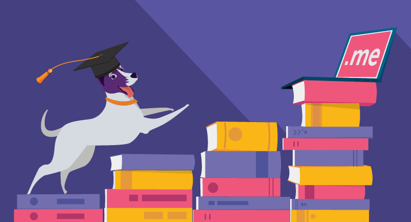 An educated dog thanks to Namecheap for education