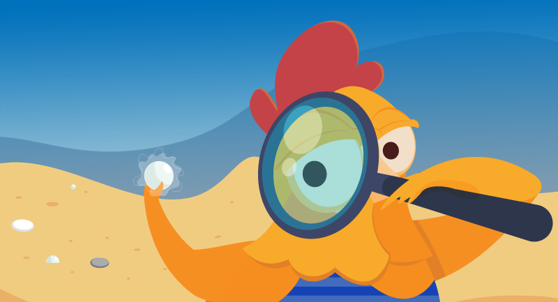 Chicken looking for expired domain names with magnifying glass