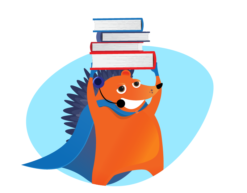 hedgehog support representative holding pile of books