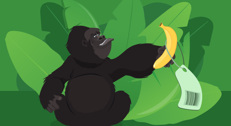 gorilla with price tag on banana