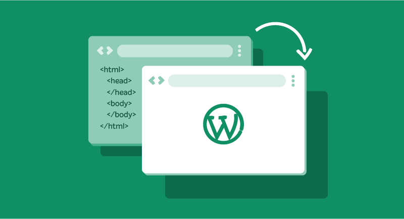 Graphic illustrating converting a site to WordPress