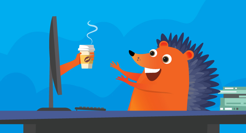 hedgehog getting coffee from computer