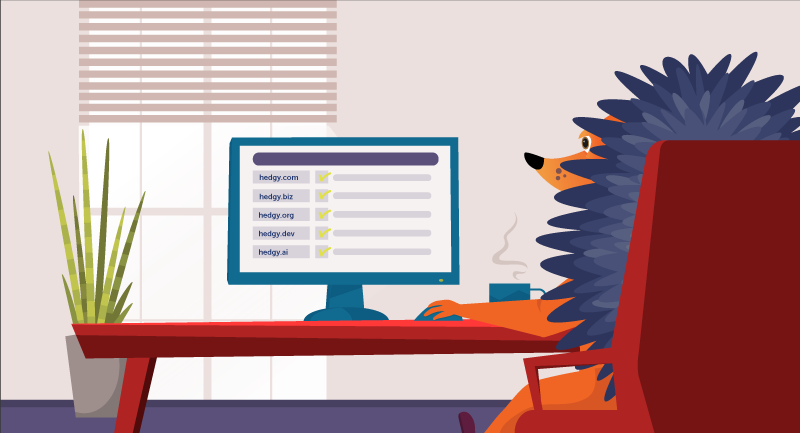 hedgehog sitting at laptop registering domain names