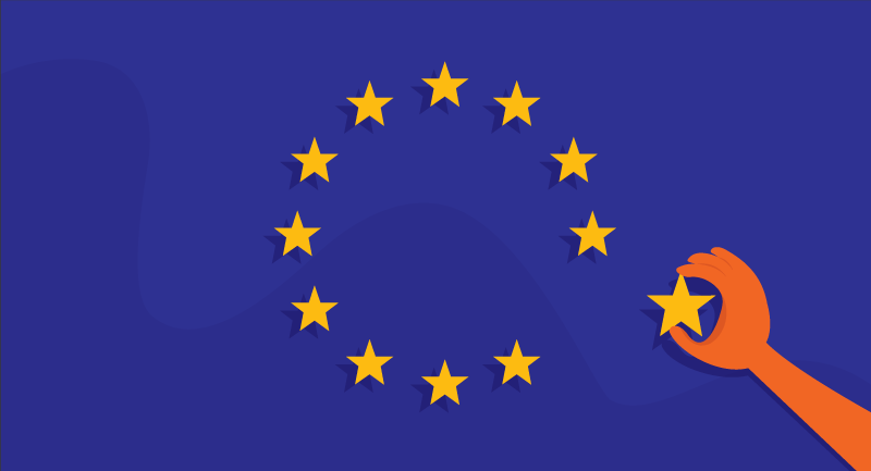 hand removing star from EU flag