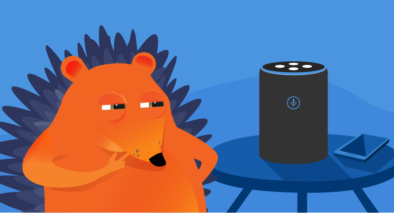 Hedgehog listening to smart speaker