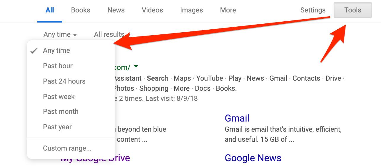 Google date range tool screenshot