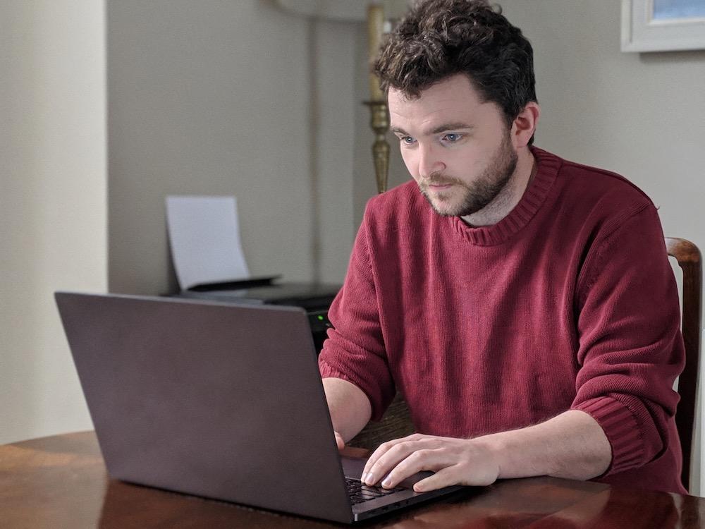 Tim Dickinson at laptop