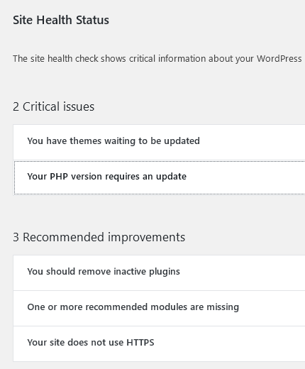 site health status panel