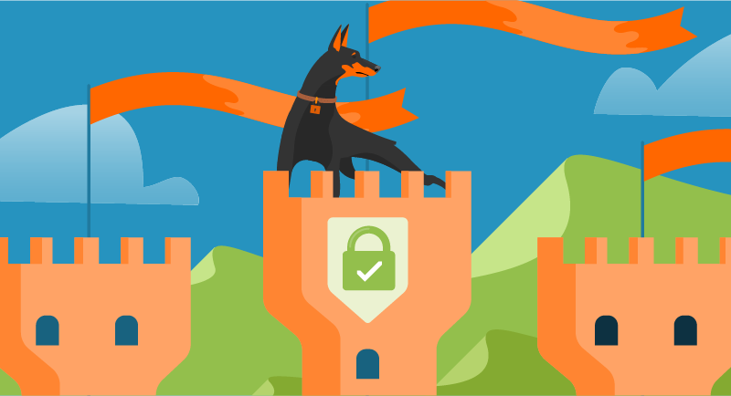 Security dog in a secure castle tower