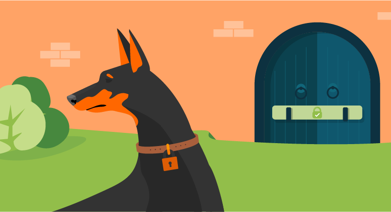 Security doberman at castle gate