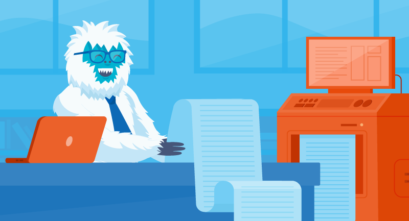 Yeti reviewing a list of possible domain names