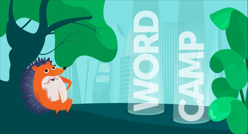 hedgehog sitting under tree with WordCamp words