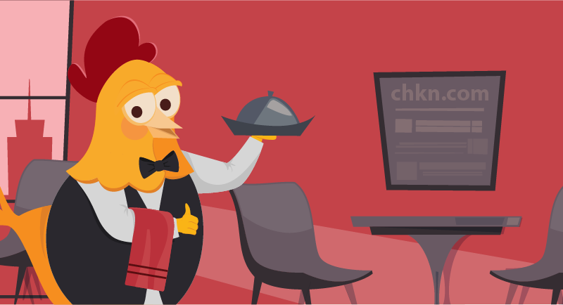 chicken serving up domains at a restaurant