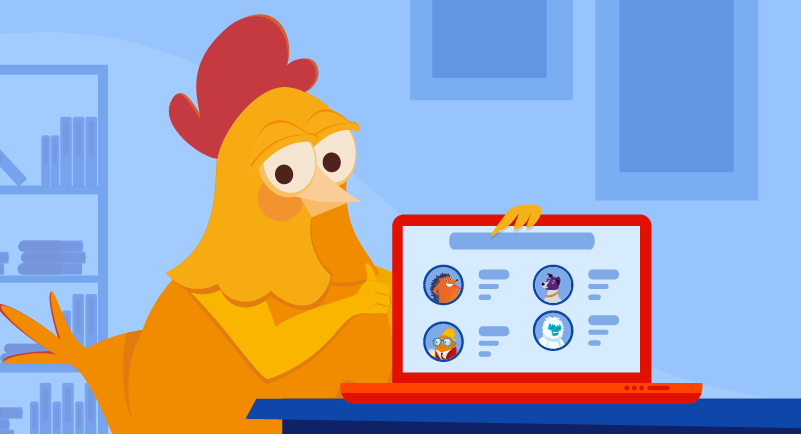 Chicken with laptop showing affiliates
